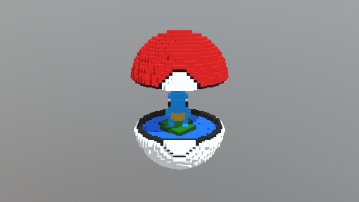 Voxel: Squirtle's Pokeball 3D Model