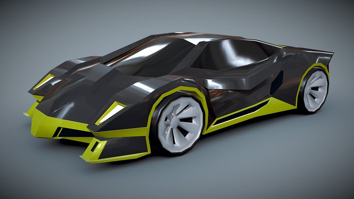 Lowpoly Hypercar concept 3D Model