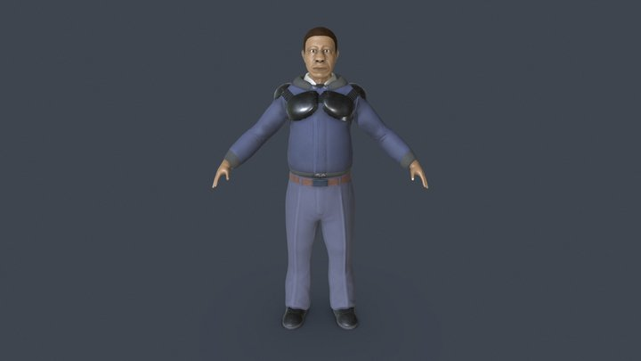 PoliceMan Forest Whitaker + Unreal Engine 4 3D Model