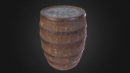 Wooden Barrel (Detailed) 3D Model