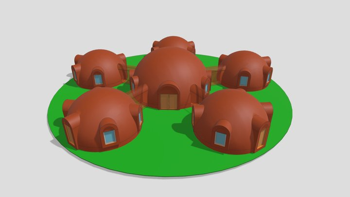 """3D dome 10m + 5piece X 6m UAB """"SFEROS"""" 3D Model"""