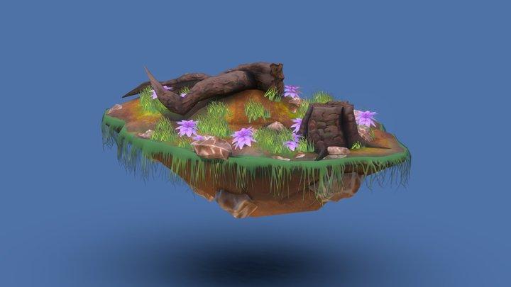 Floating island tree scene 3D Model