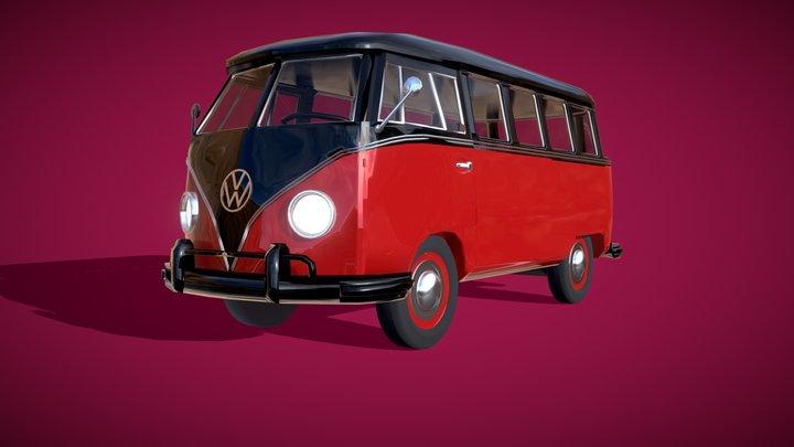 VW T1 style Bus Free 3D Model