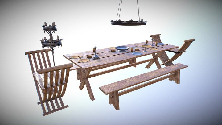 Medieval Dining Table 3D Model