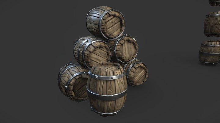 Fantasy Wooden Barrels 3D Model