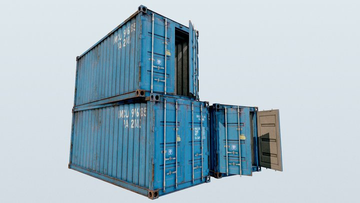 Enterable Shipping Container 03 - PBR 3D Model