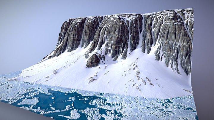 Frozen Lake Cliffs Terrain 3D Model
