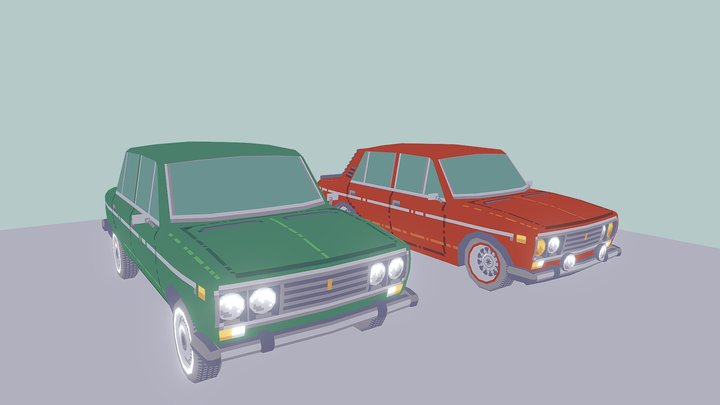 Lada 2106 (Stock and Tuning versions) 3D Model