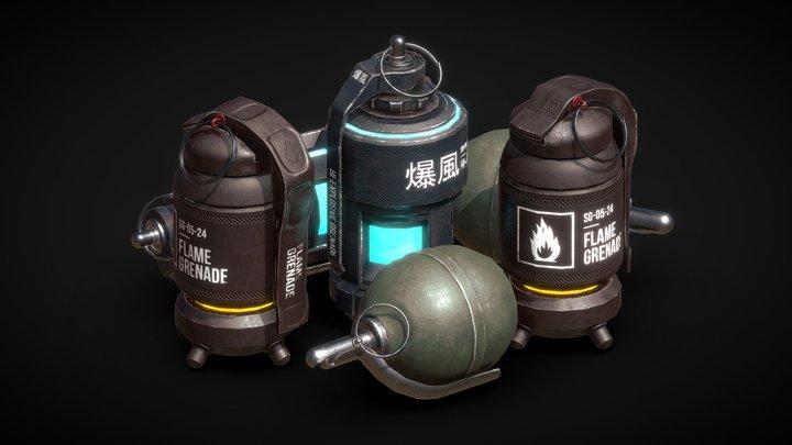 Set of grenades (Plasma, Flame and AP grenades) 3D Model