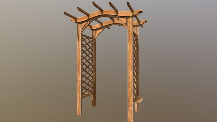 Outdoor Wooden Arch 3D Model