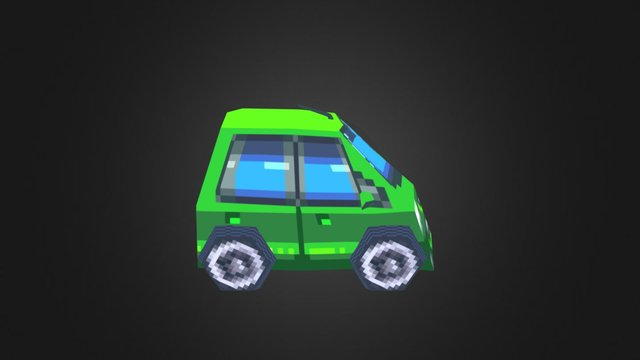 Low-poly Pixelart Green Car 3D Model