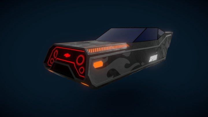 Cyberpunk Low-Poly Muscle Car 3D Model