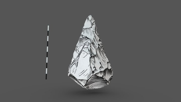 Illustrated Paleolithic Handaxe 3D Model