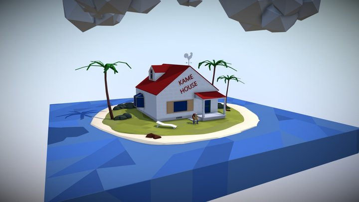 Kame House Low Poly Vertex Painting 3D Model