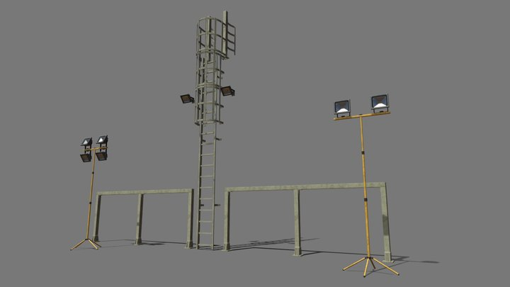 Ladder, Railing and Flood Light Set Up 3D Model