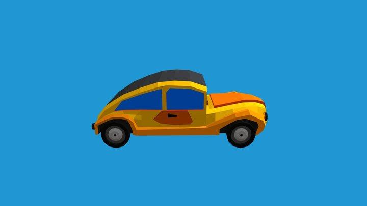 Low poly Yellow Retro car Volkswagen Beetle 3D Model
