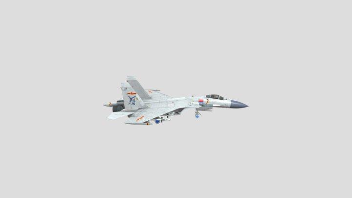 Su-37 Terminator Flanker or PLA J-15 3D Model