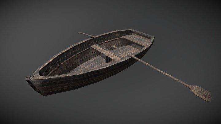 Boat with Paddles 3D Model