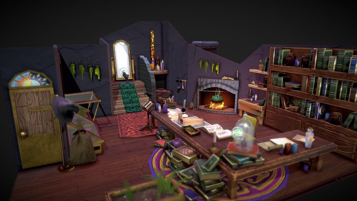 Stylized Witch's Room 3D Model