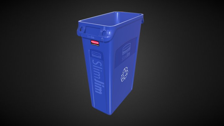 Rubbermaid Recycling Container 23 Gallon Blue 3D Model