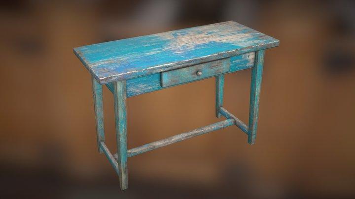 Low Poly Old Vintage Table Desk - Wooden Table 3D Model