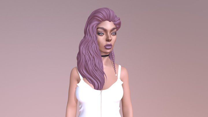 Girl with Purple  Hair 3D Model