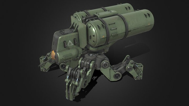 Flamethrower Mech 3D Model
