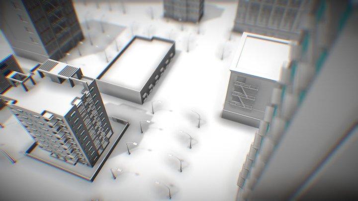City Streets Untextured 3D Model