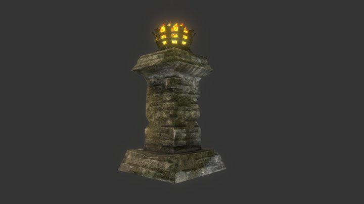 Stone Column Brazier 3D Model