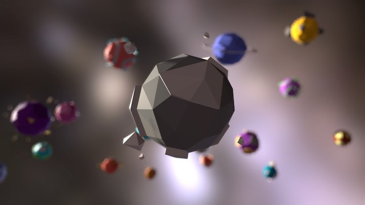 Low Poly Planets 3D Model