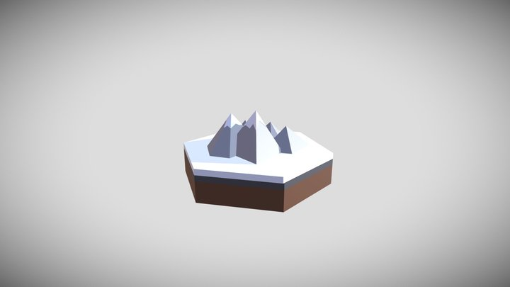 Snow-capped mountains diorama - minimal 3D Model