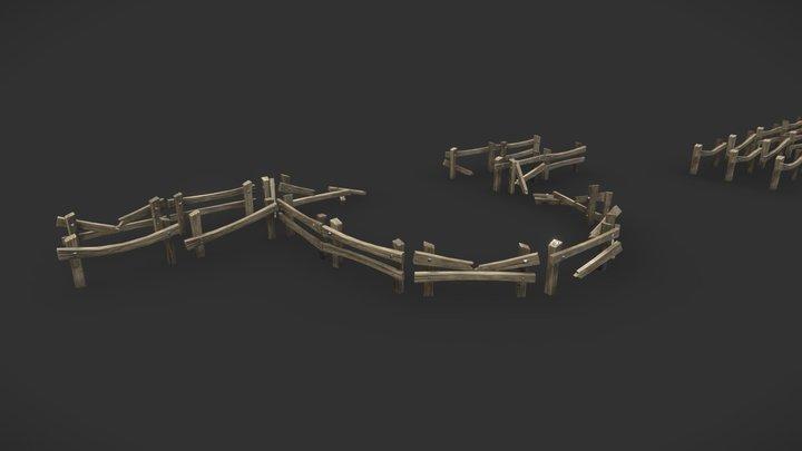 Fantasy Wooden Fence 3D Model