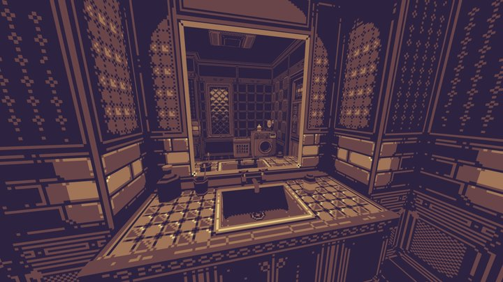 Creepy Pixel-Art Bathroom 3D Model