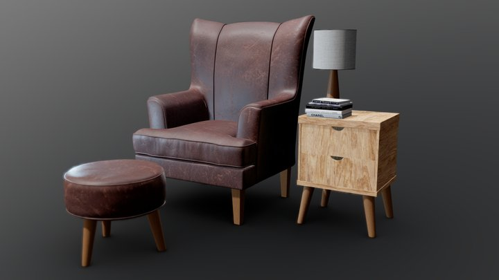 Leather Chair Set 3D Model
