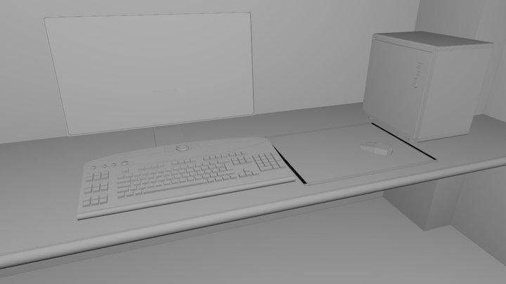 Low Poly Desk Udemy 3D Model