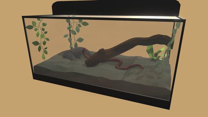 Lowpoly Snake Terrarium 3D Model