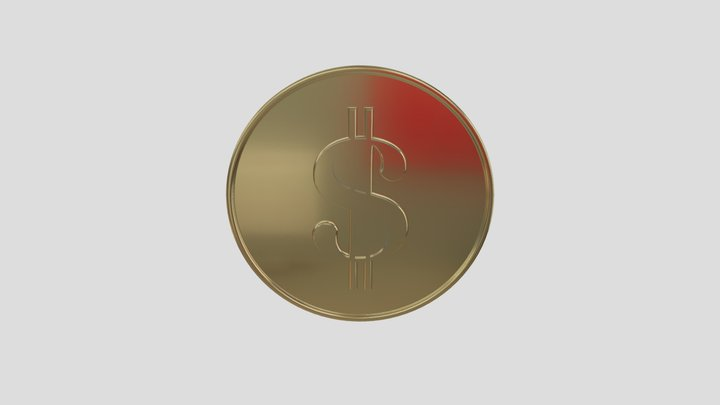 Gold Coin with $ Sign 3D Model