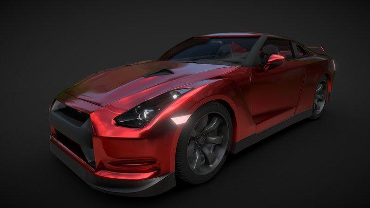 Nissan GT-R 2008 red 3D Model