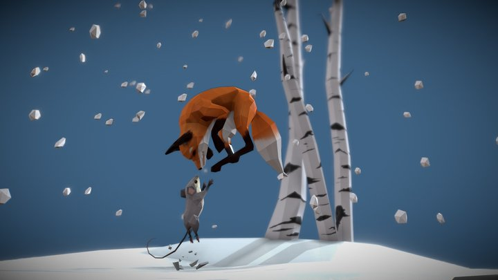 Fox and mouse playing in the air 3D Model