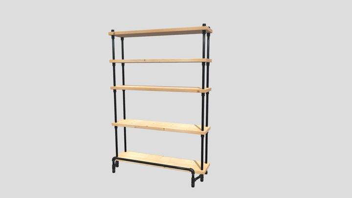 Rustic Pipe and Plank Bookshelf 3D Model
