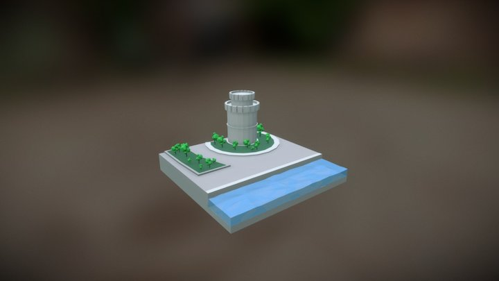 Lowpoly White Tower Thessaloniki 3D Model