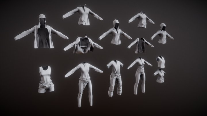 Shape of Clothes For Ray II by cloth sim demo 3D Model