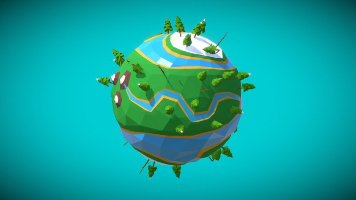 Low Poly Green World 3D Model