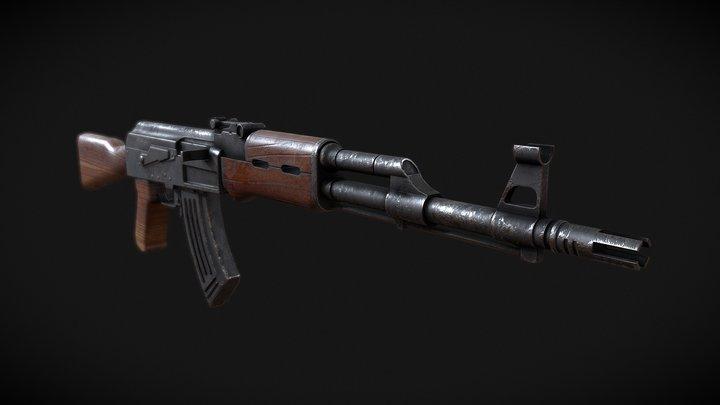 Weathered AK47 3D Model