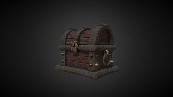 Cofre Low - Rustic old chest 3D Model