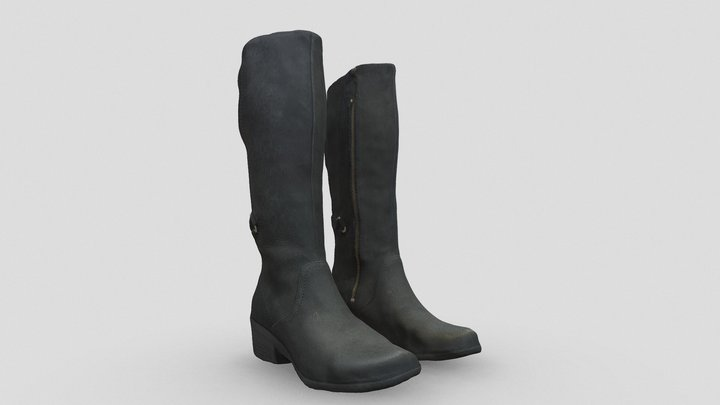 Zip-up Leather Boots for Character Clothing 3D Model