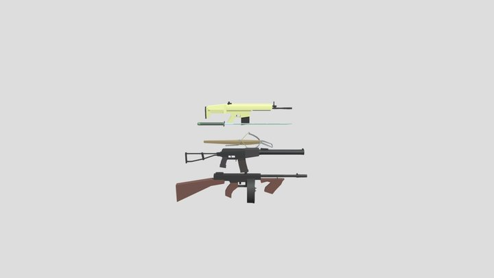 Weapon's In Color 3D Model