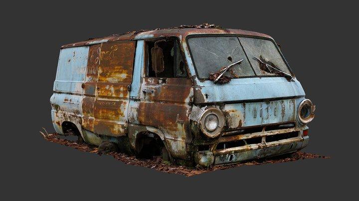 Ruined Dodge Van (Raw Scan) 3D Model
