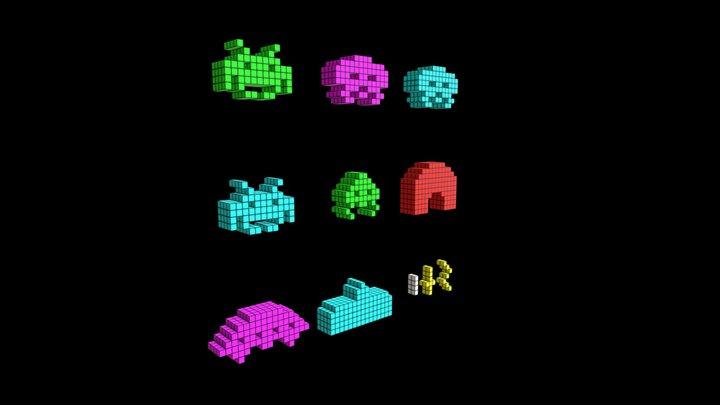 Voxel Space Invaders Pack 3D Model