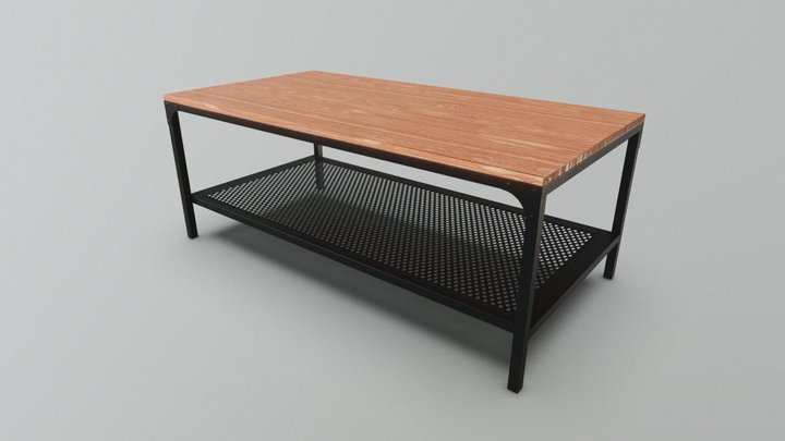 Rustic wood and cast iron coffee table 3D Model